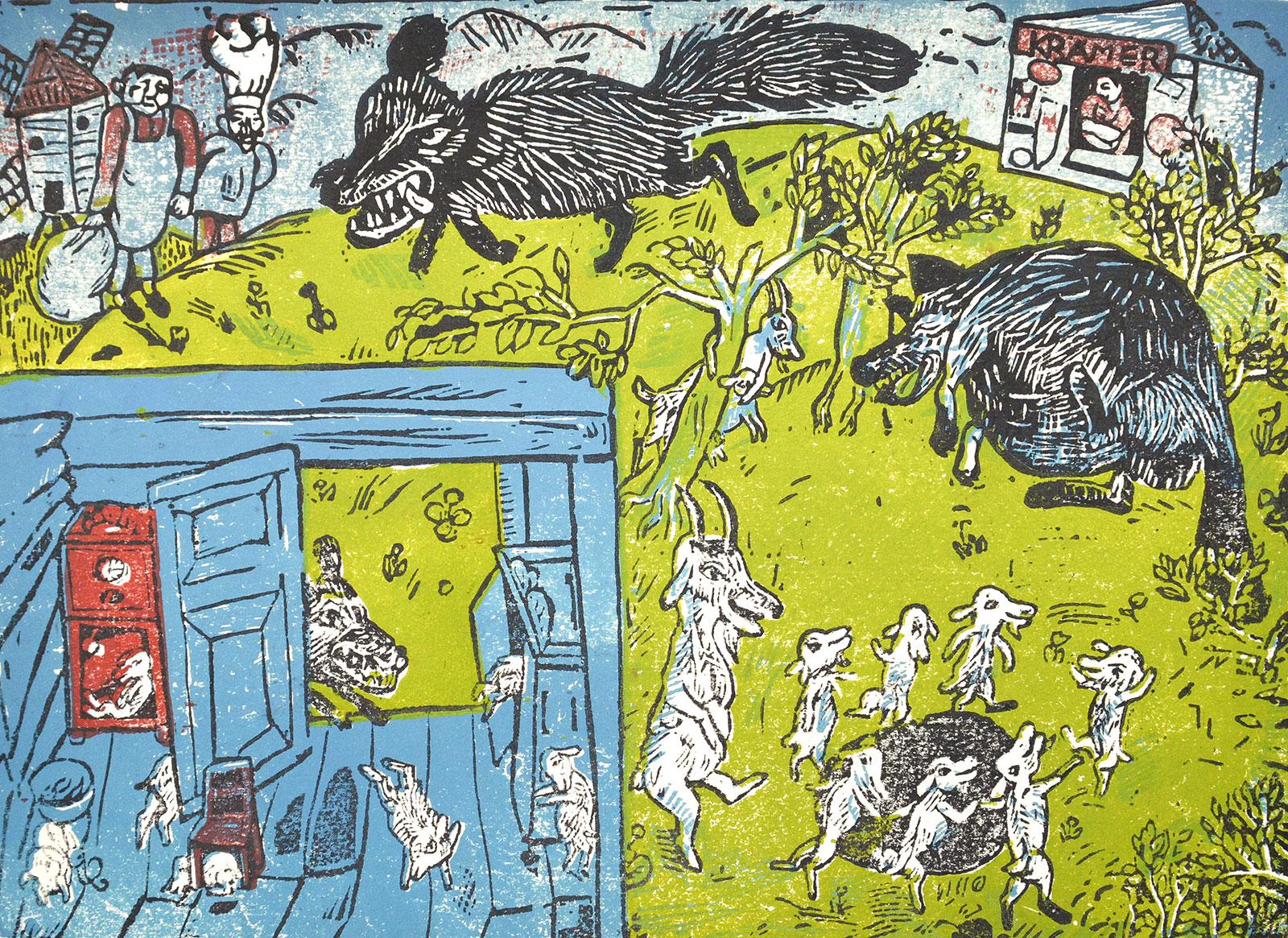 Lothar Sell Der Wolf und die sieben jungen Geißlein Sammlung der Kunsthalle Rostock