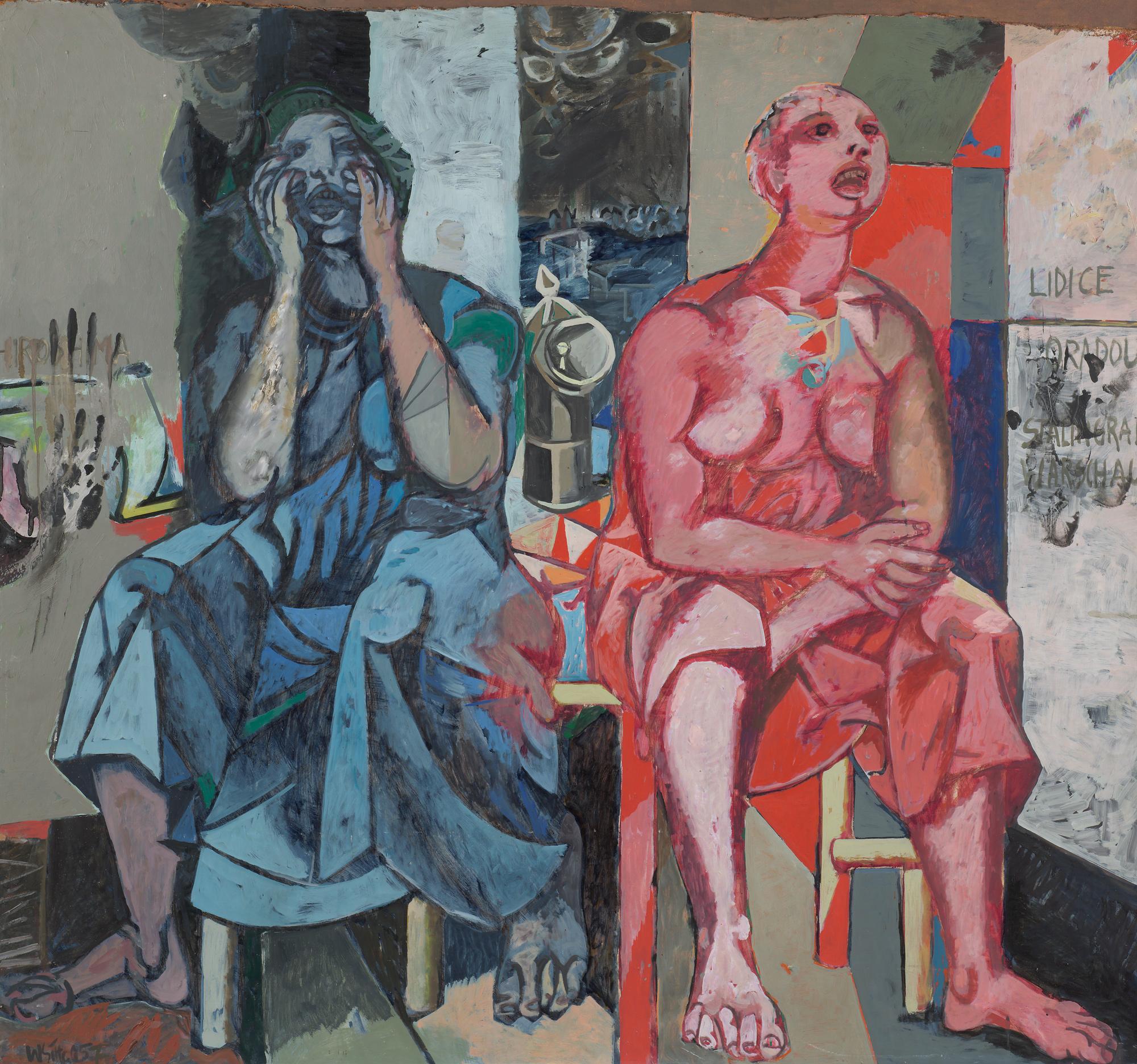 """Willi Sitte Rufende Frauen (Studie zu """"Lidice"""") 1957 Öl auf Hartfaser 155 x 162 cm Willi-Sitte-Stiftung © VG Bild-Kunst, Bonn 2018 Foto: Galerie Schwind Leipzig"""