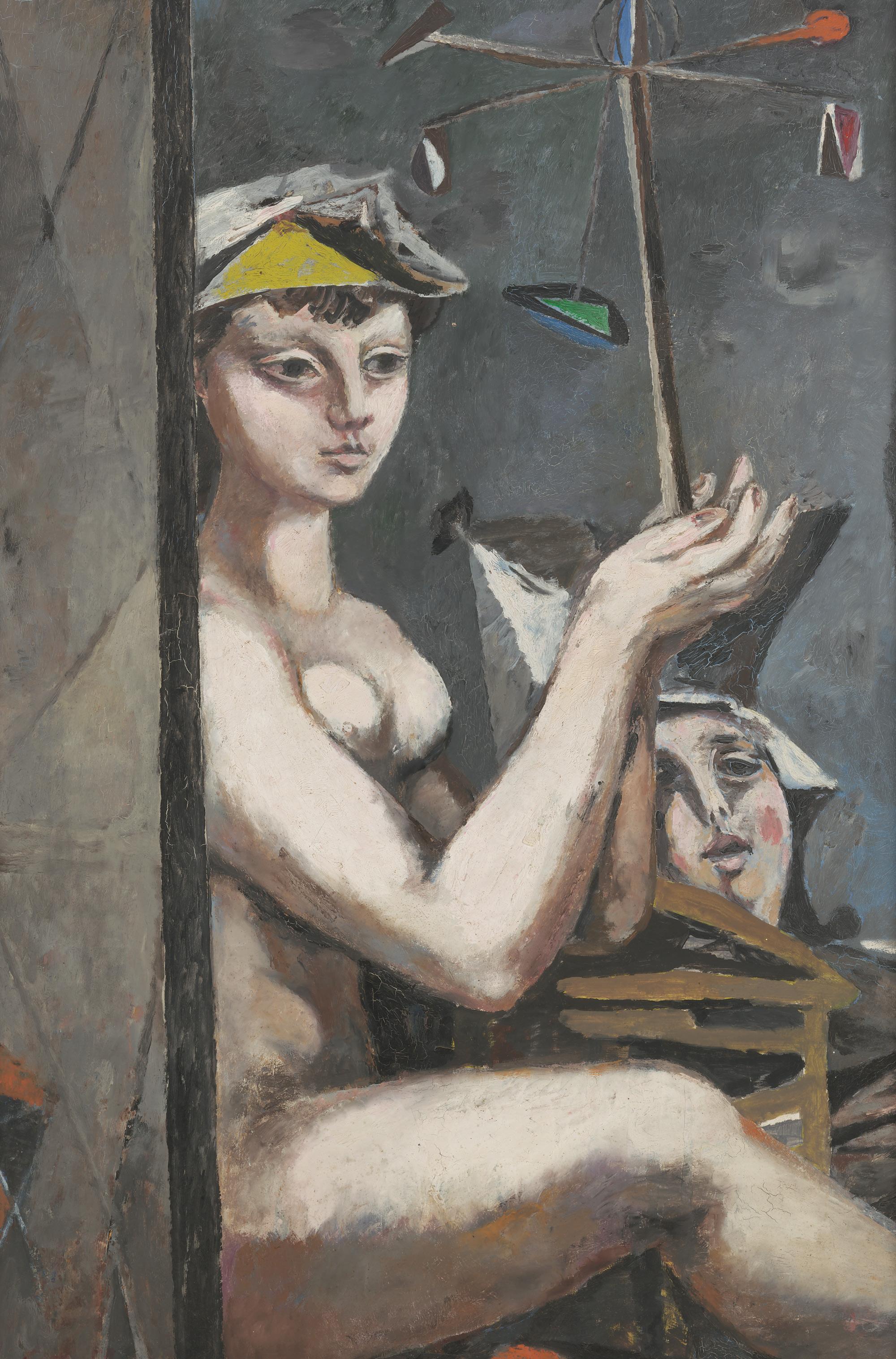 Willi Sitte Frau mit Windspiel 1951 Öl auf Hartfaser 100 x 63 cm        Willi-Sitte-Stiftung        © VG Bild-Kunst, Bonn 2018      Foto:  Galerie Schwind, Leipzig