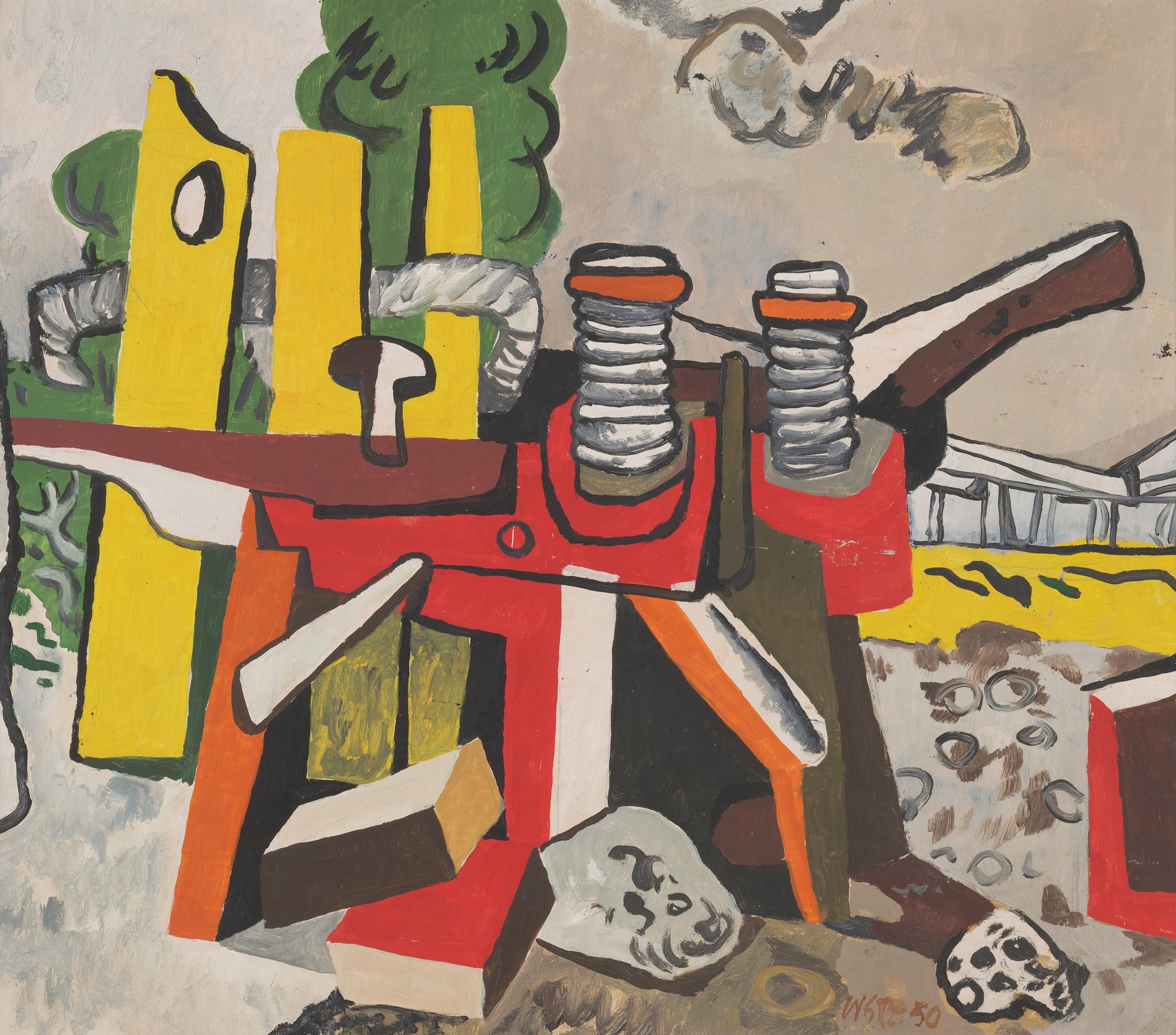 Willi Sitte Ziegelputzmaschine 1950 Öl auf Karton 54 x 61 cm Willi -Sitte-Stiftung © VG Bild-Kunst, Bonn 2018 Foto: Galerie Schwind Leipzig