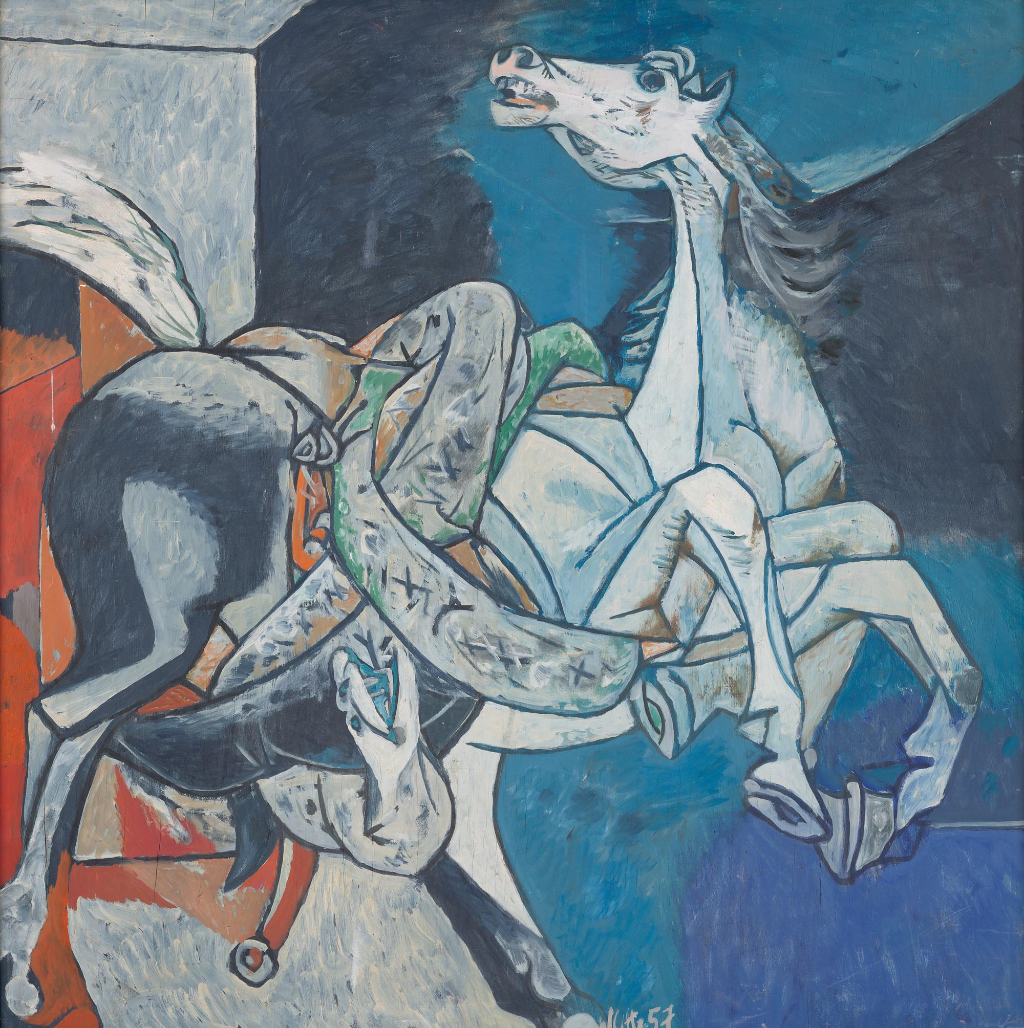 Willi Sitte Pferd mit Schlange 1957 Öl auf Sperrholz 105,5 x 105,5 cm Willi-Sitte-Stiftung © VG Bild-Kunst, Bonn 2018 Foto: Galerie Schwind Leipzig