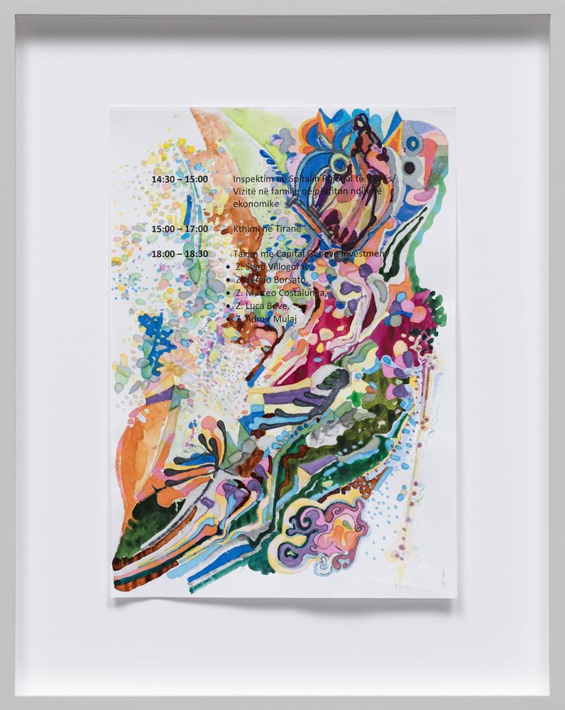 Edi Rama Untitled (2001) 2018 mixed media 29,7 x 21 cm courtesy the artist and carlier | gebauer, Berlin