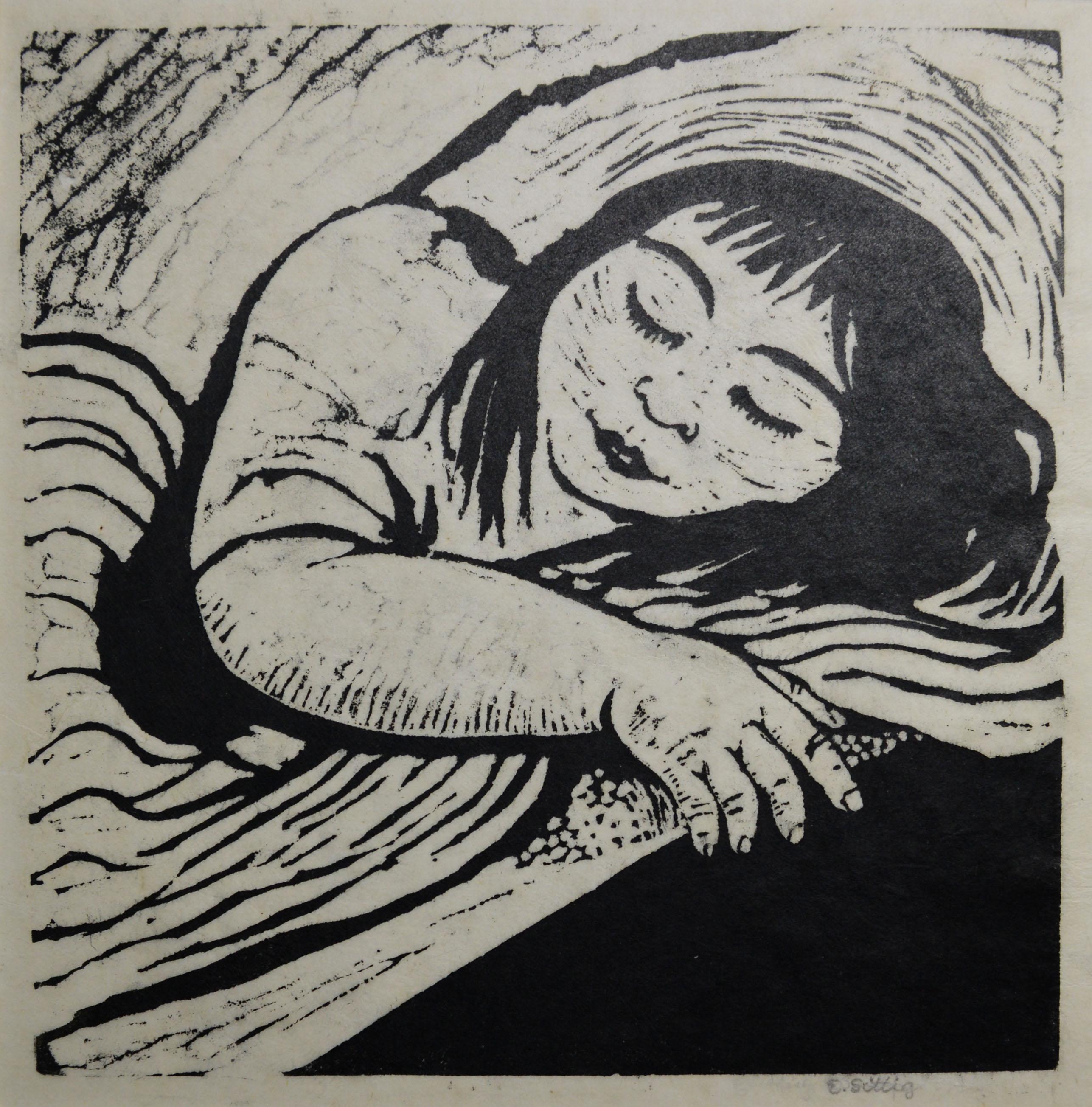 Schlafendes Zigeunerle o. J. (1920er-Jahre)  Linolschnitt 24,2 x 24,0 cm