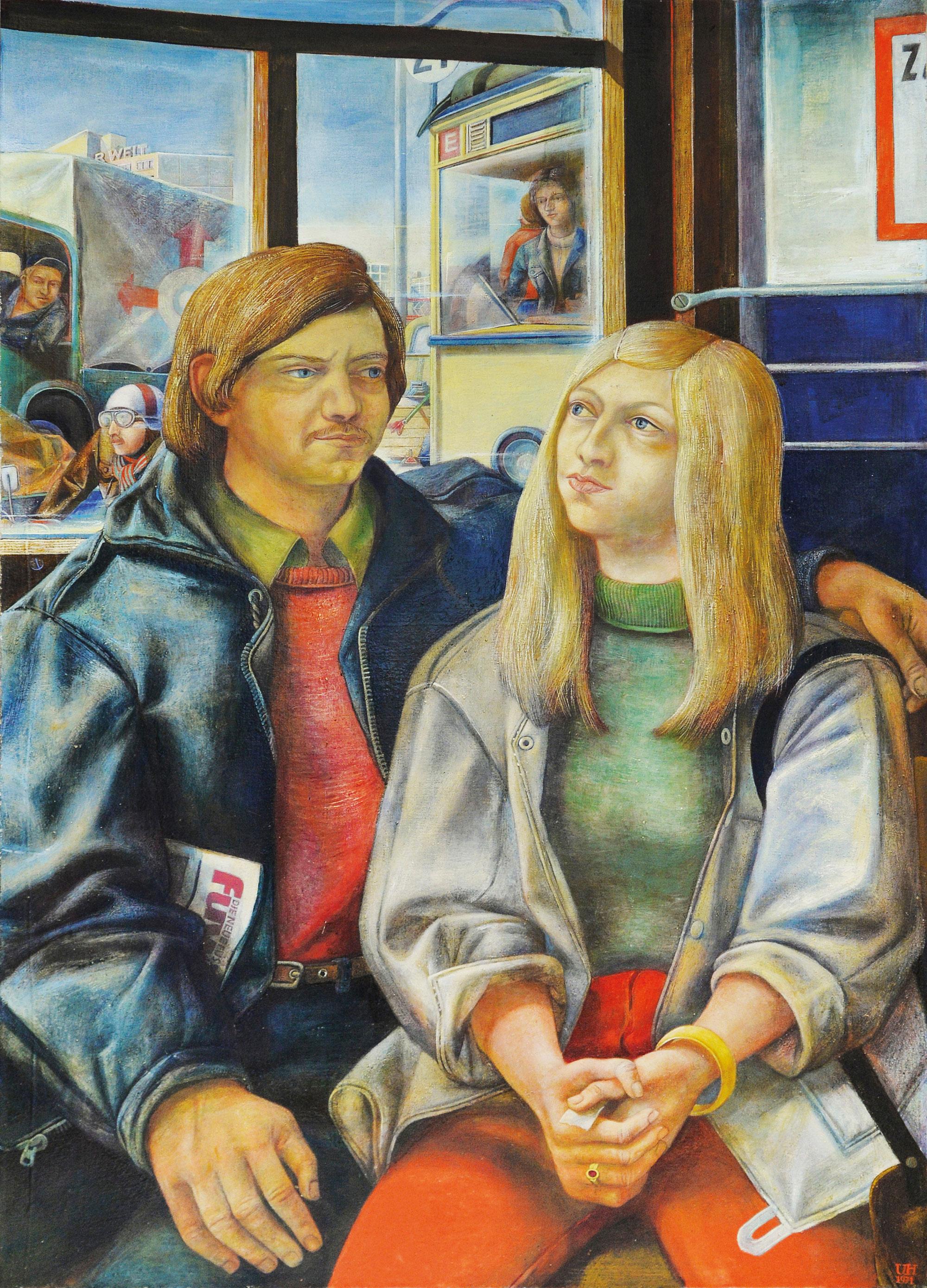 Ulrich Hachulla Junges Paar in der Straßenbahn  1971 125,0 x 90,0 cm Mischtechnik auf Leinwand Kunsthalle Rostock  Foto: Kunsthalle Rostock © VG Bild-Kunst, Bonn 2019
