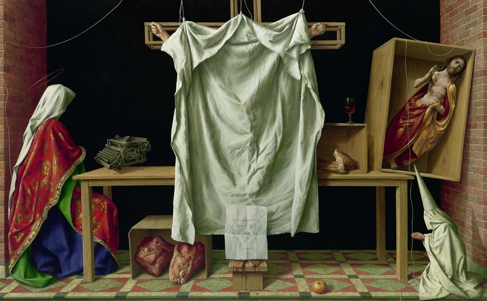 Michael Triegel, Deus absconditus 2013, Mischtechnik auf Leinwand 160 x 260 cm, Foto: Galerie Schwind  © VG Bild-Kunst, Bonn 2020